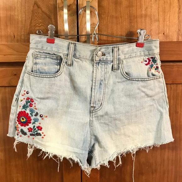 fa361ff6711b Madewell Pants - Madewell Embroidered High Waist Distressed Shorts